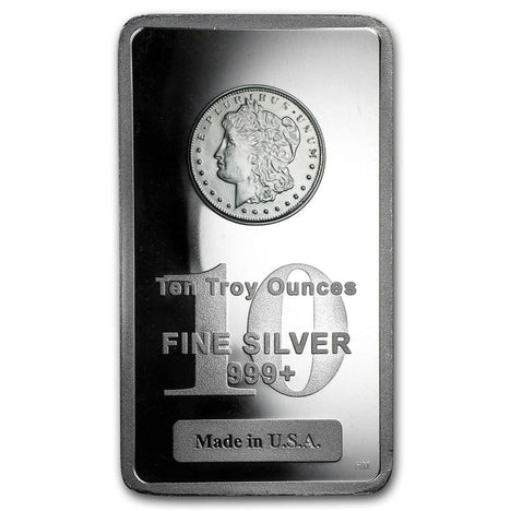 10 Ounce oz .999 Silver Bar - Morgan Design