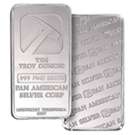 10 Ounce oz .999 Silver Bar - Pan American Silver