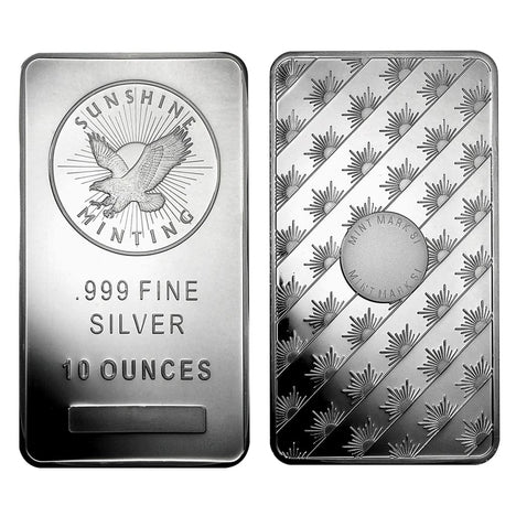 10 Ounce oz .999 Silver Eagle Bar - Sunshine Minting