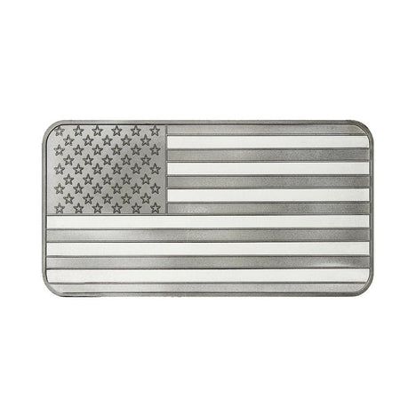 10 Ounce Silvertowne Mint .999 Silver American Flag Bar