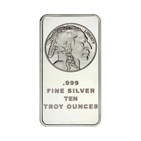10 Ounce Silvertowne Mint .999 Silver Buffalo Bar