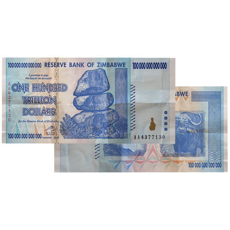 100 Trillion Zimbabwe Banknotes 2008 AA Series CIRCULATED