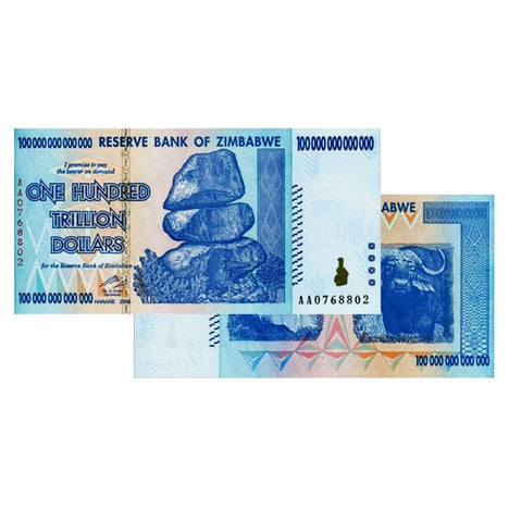 100 Trillion Zimbabwe Banknotes 2008 AA Series Uncirculated