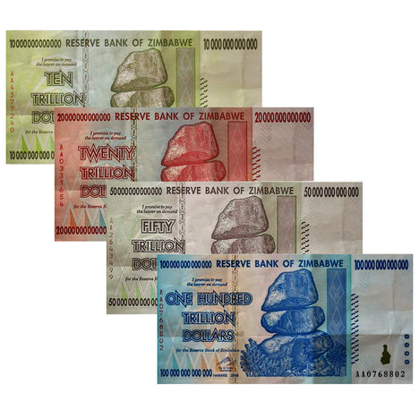 The Trillion Set Circulated - 100, 50, 20 and 10 Trillion Zimbabwe Banknotes 2008 AA Series Circulated