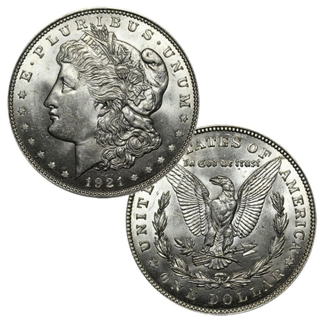 1921 90% Silver Morgan Dollar Brilliant Uncirculated