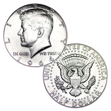 1964 JFK Kennedy Half Dollar Brilliant Uncirculated BU $1 Face - Two Coins