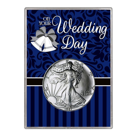1987 $1 American Silver Eagle Gift Holder Wedding Day Design