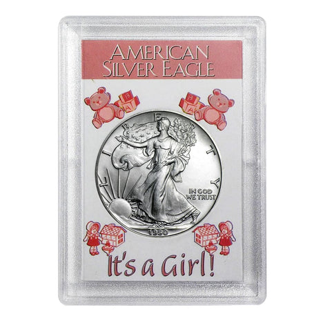 1990 $1 American Silver Eagle HE Harris Holder - Its A Girl! Design