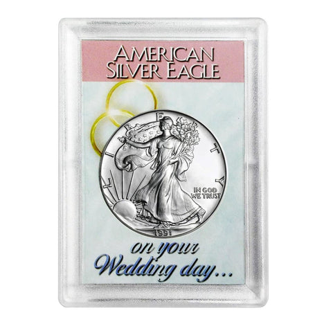 1991 $1 American Silver Eagle HE Harris Holder - Wedding Day Design