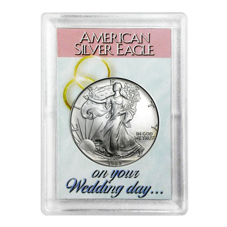 1992 $1 American Silver Eagle HE Harris Holder - Wedding Day Design