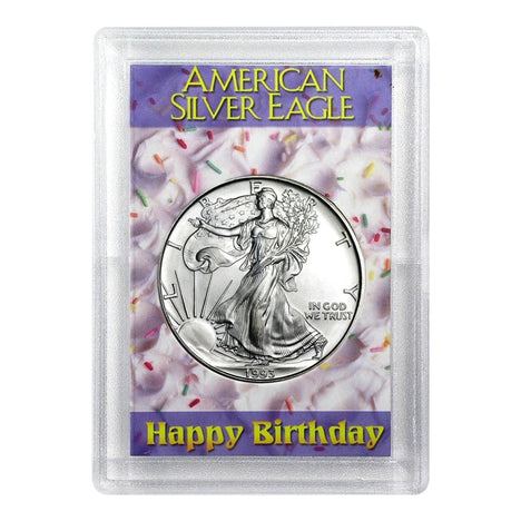 1993 $1 American Silver Eagle HE Harris Holder - Birthday Design