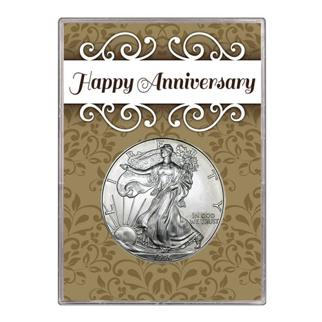 1996 $1 American Silver Eagle Gift Holder Happy Anniversary Design