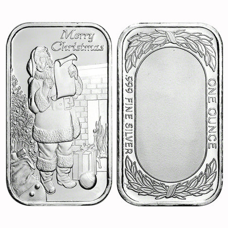 1 Ounce Silvertowne Mint .999 Silver Bar Merry Christmas Santa with List