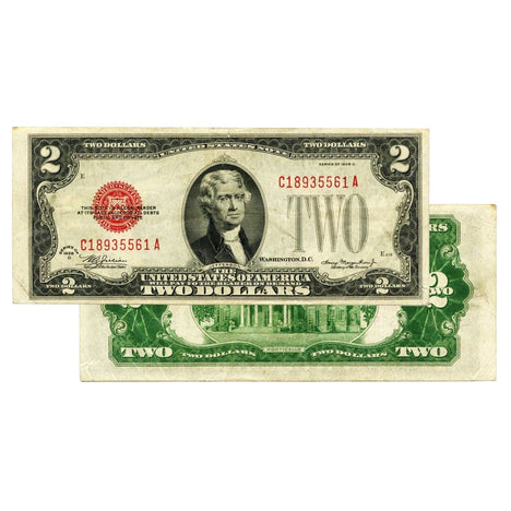 $2 - 1928 Red Seal FRN - About Uncirculated