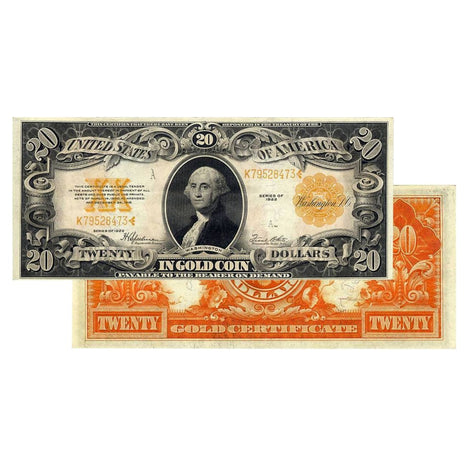 $20 - 1922 Gold Certificate Large Size Note - About Uncirculated