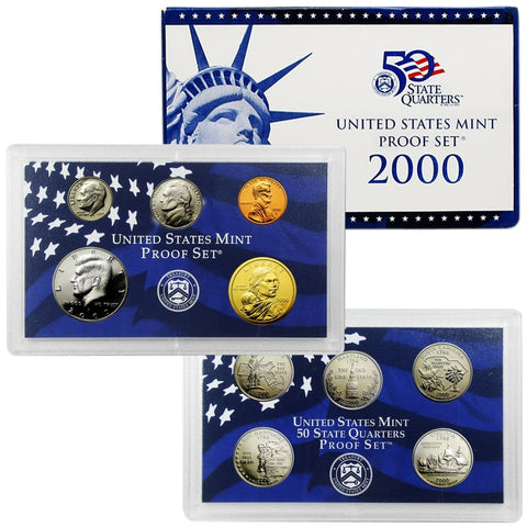 2000 UNITED STATES MINT SILVER PROOF SET 10 COIN SET