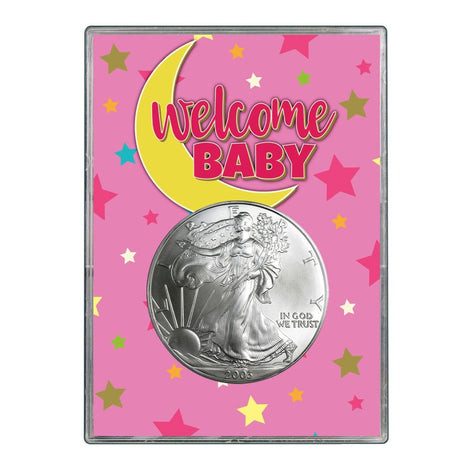 2003 $1 American Silver Eagle Gift Holder - Welcome Baby Pink Design