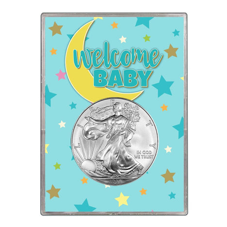 2008 $1 American Silver Eagle Gift Holder - Welcome Baby Blue Design