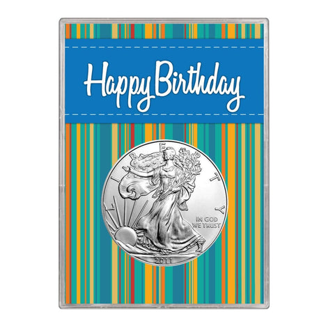 2011 $1 American Silver Eagle Gift Holder Happy Birthday Blue Design