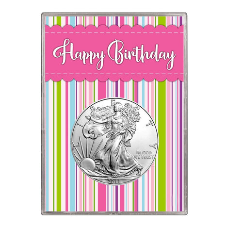 2011 $1 American Silver Eagle Gift Holder Happy Birthday Pink Design
