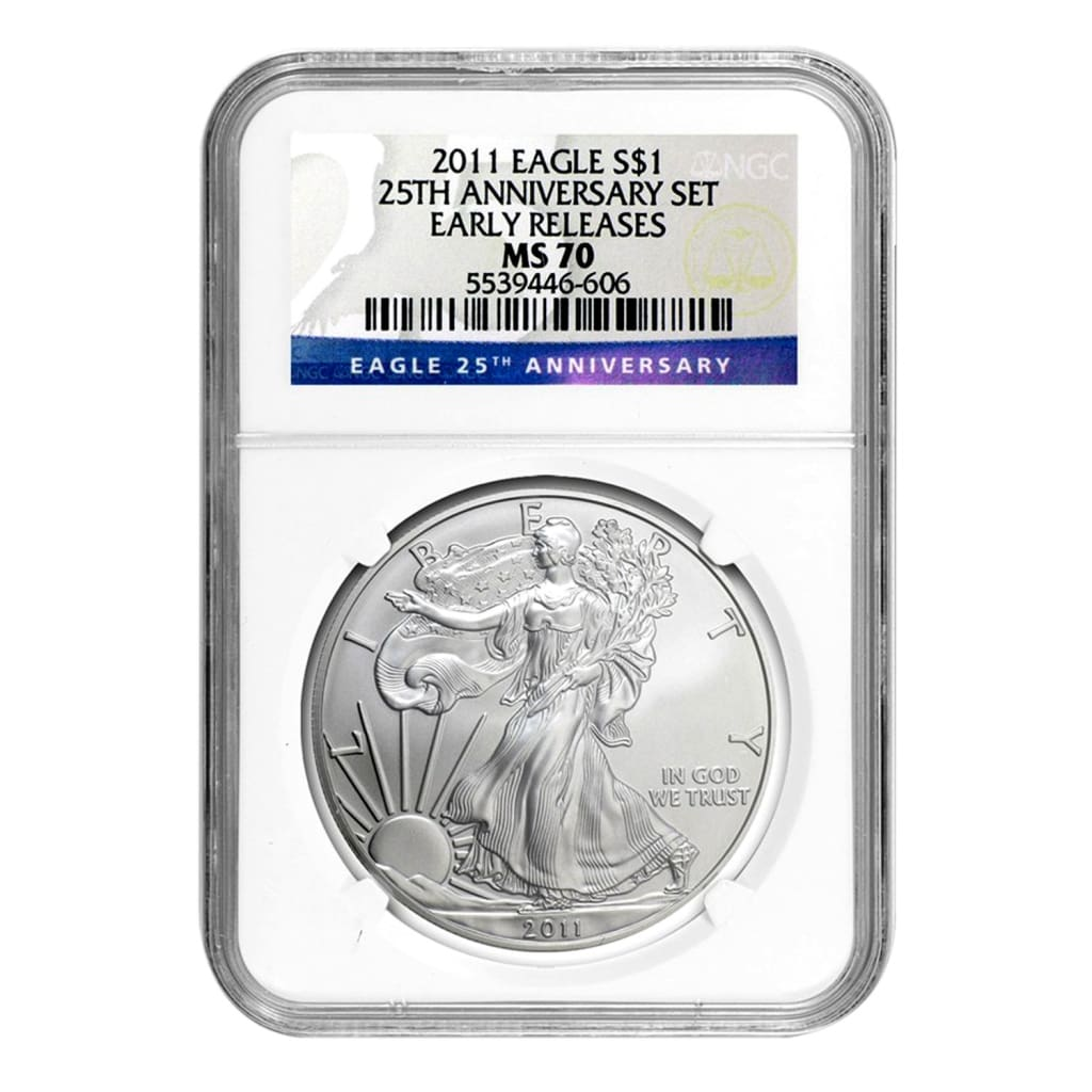 2011 American Silver Eagle NGC MS 70 25th Anniversary Early Releases
