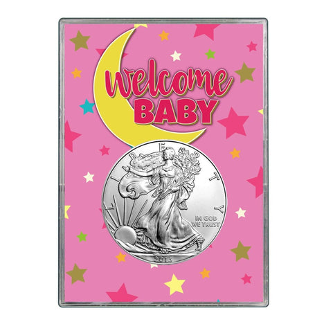 2013 $1 American Silver Eagle Gift Holder - Welcome Baby Pink Design