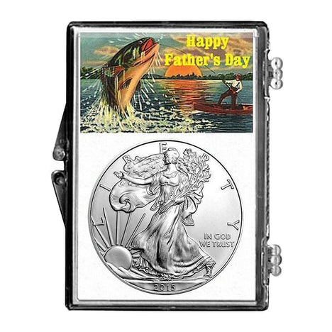 2015 $1 American Silver Eagle Snaplock Holder - Fathers Day Fishing Design