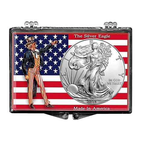 2015 $1 American Silver Eagle Snaplock Holder - Uncle Sam with Flag Design