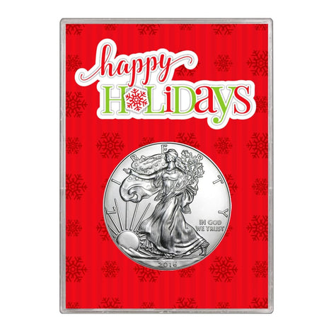 2016 $1 American Silver Eagle Gift Holder Happy Holidays Design