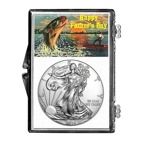 2016 $1 American Silver Eagle Snaplock Holder - Fathers Day Fishing Design