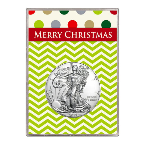 2017 $1 American Silver Eagle Gift Holder Merry Christmas Design