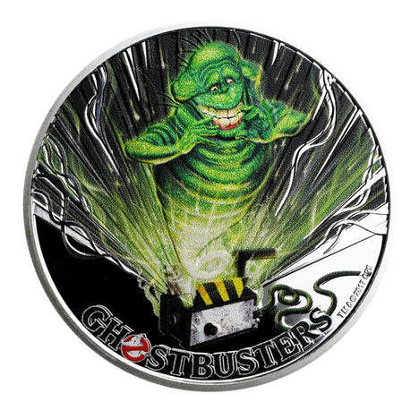 2017 Tuvalu 1 oz .999 Silver Ghostbusters Slimer Colorized with Box