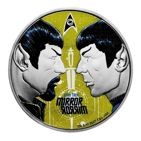 2017 Tuvalu 1 oz .999 Silver Star Trek Mirror Mirror Colorized with Box