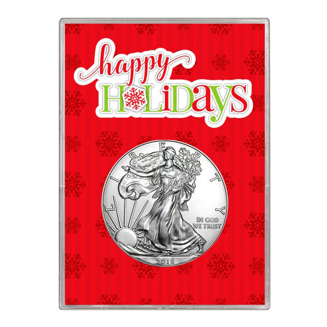 2018 $1 American Silver Eagle Gift Holder Happy Holidays Design