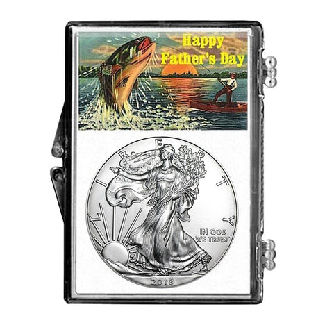 2018 $1 American Silver Eagle Snaplock Holder - Fathers Day Fishing Design