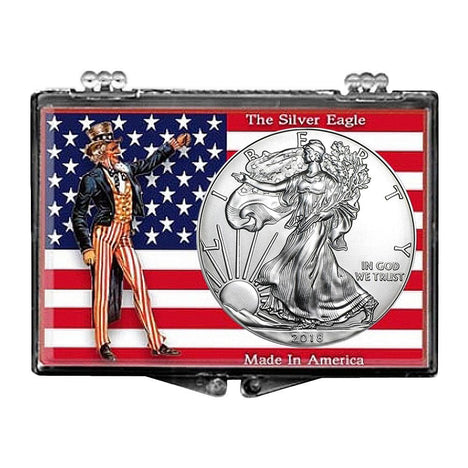 2018 $1 American Silver Eagle Snaplock Holder - Uncle Sam with Flag Design