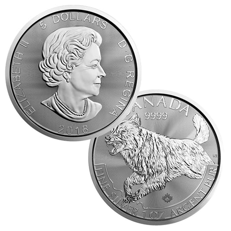 2018 1 Oz .9999 Silver Royal $5 Canadian Mint Wolf (Predator)