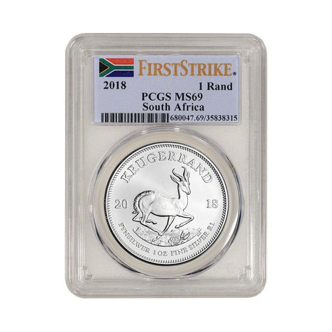2018 South Africa .999 Silver Krugerrand 1 oz 1 Rand MS69 PCGS - First Strike