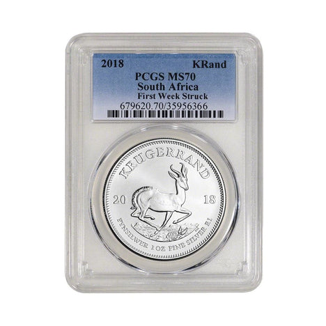 2018 South Africa .999 Silver Krugerrand 1 oz 1 Rand MS70 PCGS - First Strike