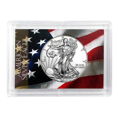2019 $1 American Silver Eagle HE Harris Holder - Flag Design