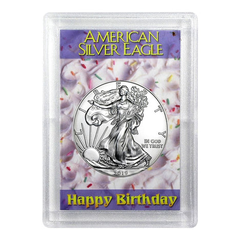 2019 $1 American Silver Eagle HE Harris Holder - Happy Birthday Design