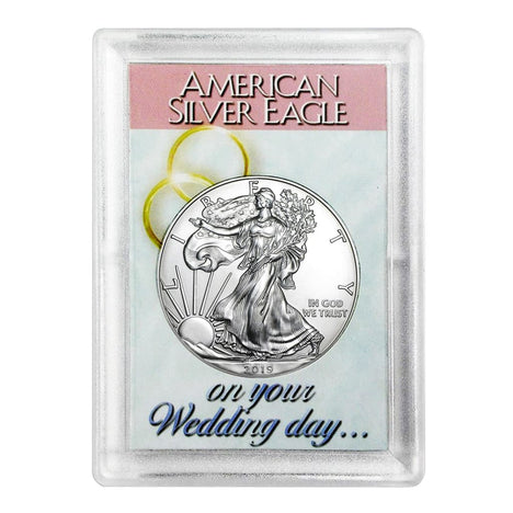 2019 $1 American Silver Eagle HE Harris Holder - Wedding Day Design