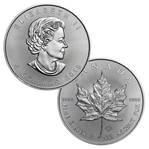 2019 5 Canadian Maple Leaf 1 Troy Ounce 9999 Silver Bu Great American Coin Company