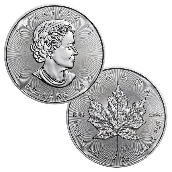2019 1 oz Canadian Silver Maple Leaf Coin 1 Troy Ounce of 9999 Fine Silver