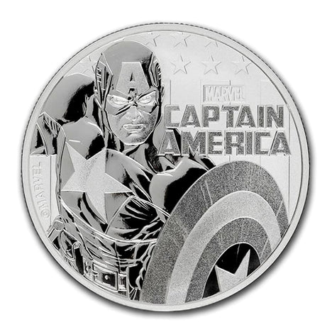2019 Tuvalu $1 - 1 oz .9999 Silver Marvel Series Captain America BU