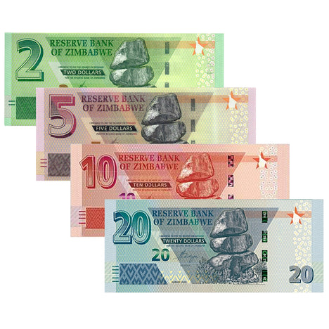 NEW Zimbabwe Dollars - $2, $5, $10, $20 Zimbabwe Banknotes 2019 2020 Uncirculated Bundle