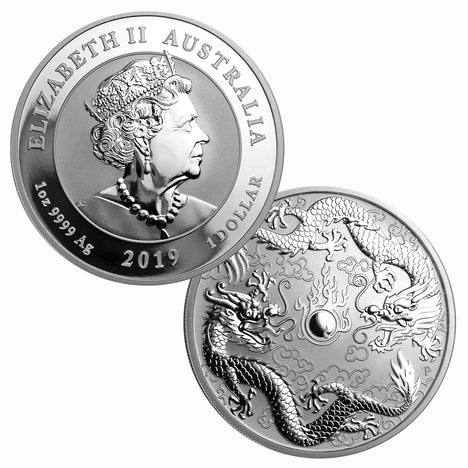 2019 1 oz .9999 Silver $1 Australian Double Dragon Coin Brilliant Uncirculated