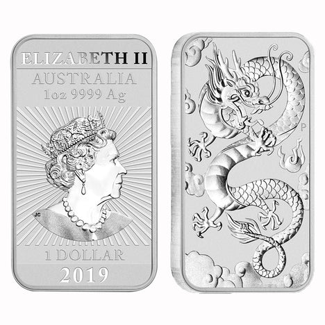2019 1 oz .9999 Silver $1 Australian Dragon Bar Brilliant Uncirculated