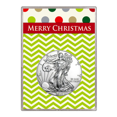 2019 $1 American Silver Eagle Gift Holder – Merry Christmas Design