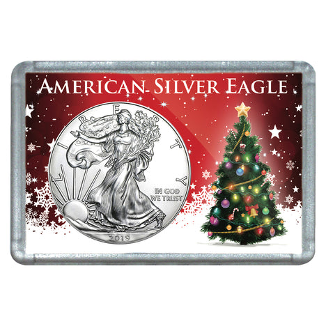 2019 $1 American Silver Eagle with Christmas Tree Holiday Gift Holder